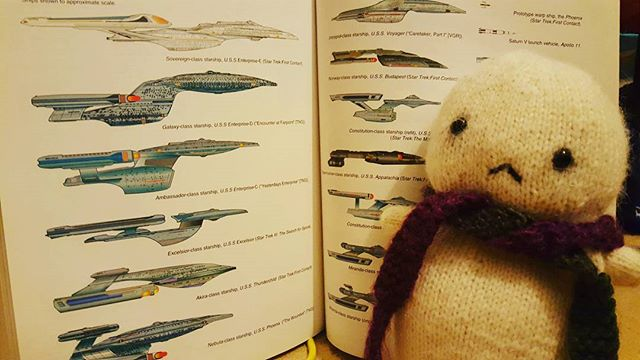 It's late but Baby-Tofu wants to learn about star ships... #startrek #tng #voyage #ds9 #patrickstewart #encyclopedia