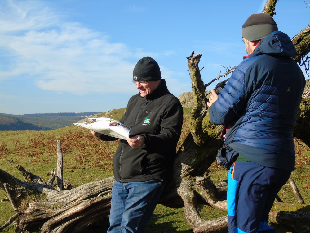 Richard using the new Cambrian Mountains map above!