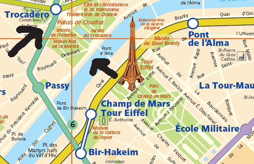 If you're at the Eiffel Tower itself, walk across the Pont d'Iena (bridge Iena) to the Palais de Chaillot, up the steps to the Trocadero metro stop.