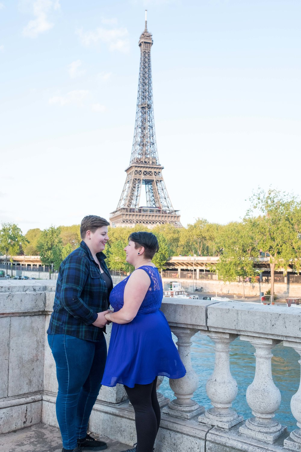 Same sex marriage proposal at Eiffel Tower in Paris