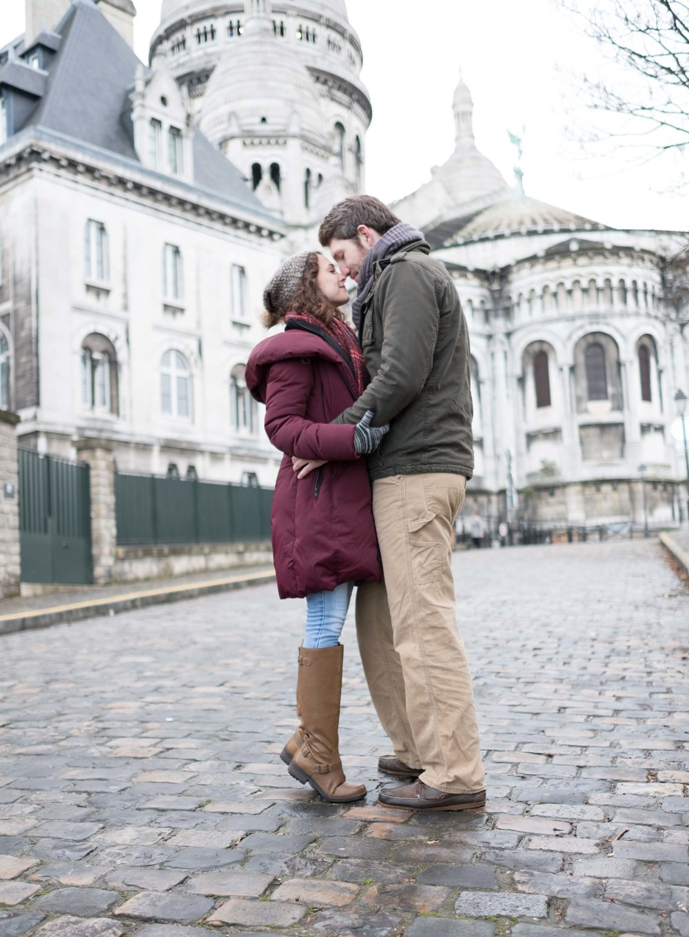 Couple in love embracing in Paris