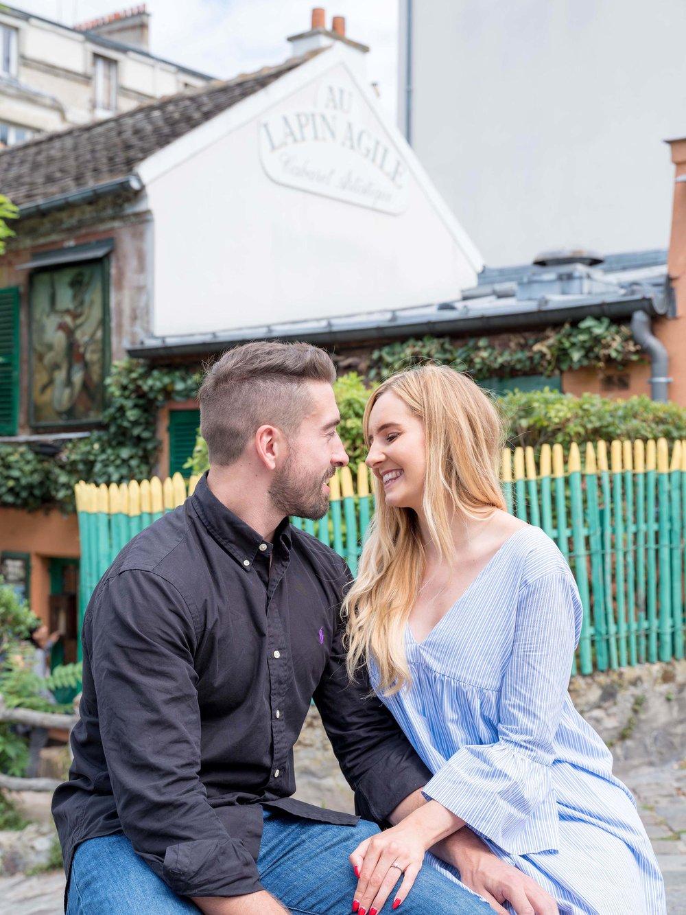 Couple in love in Montmartre Paris