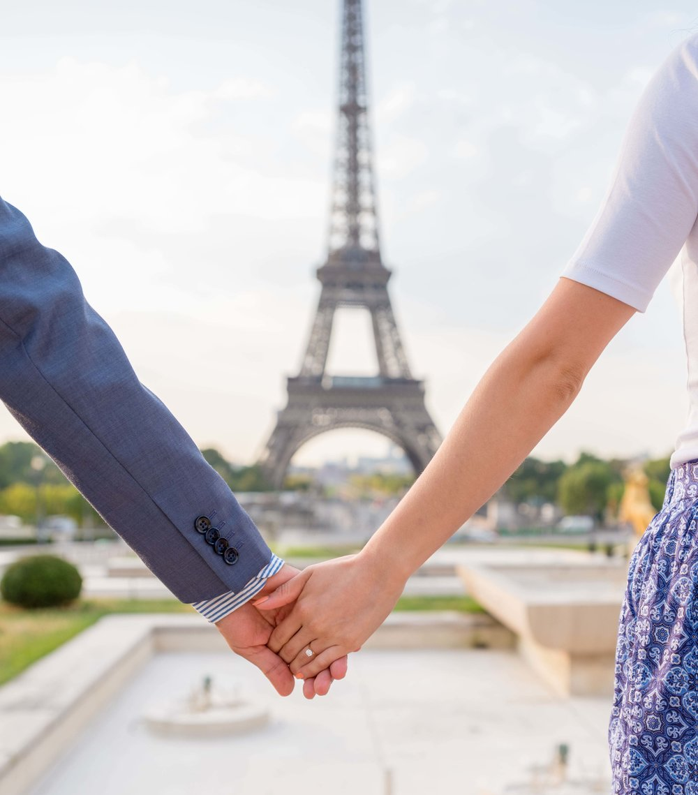 Engagement ring and couple at Eiffel Tower