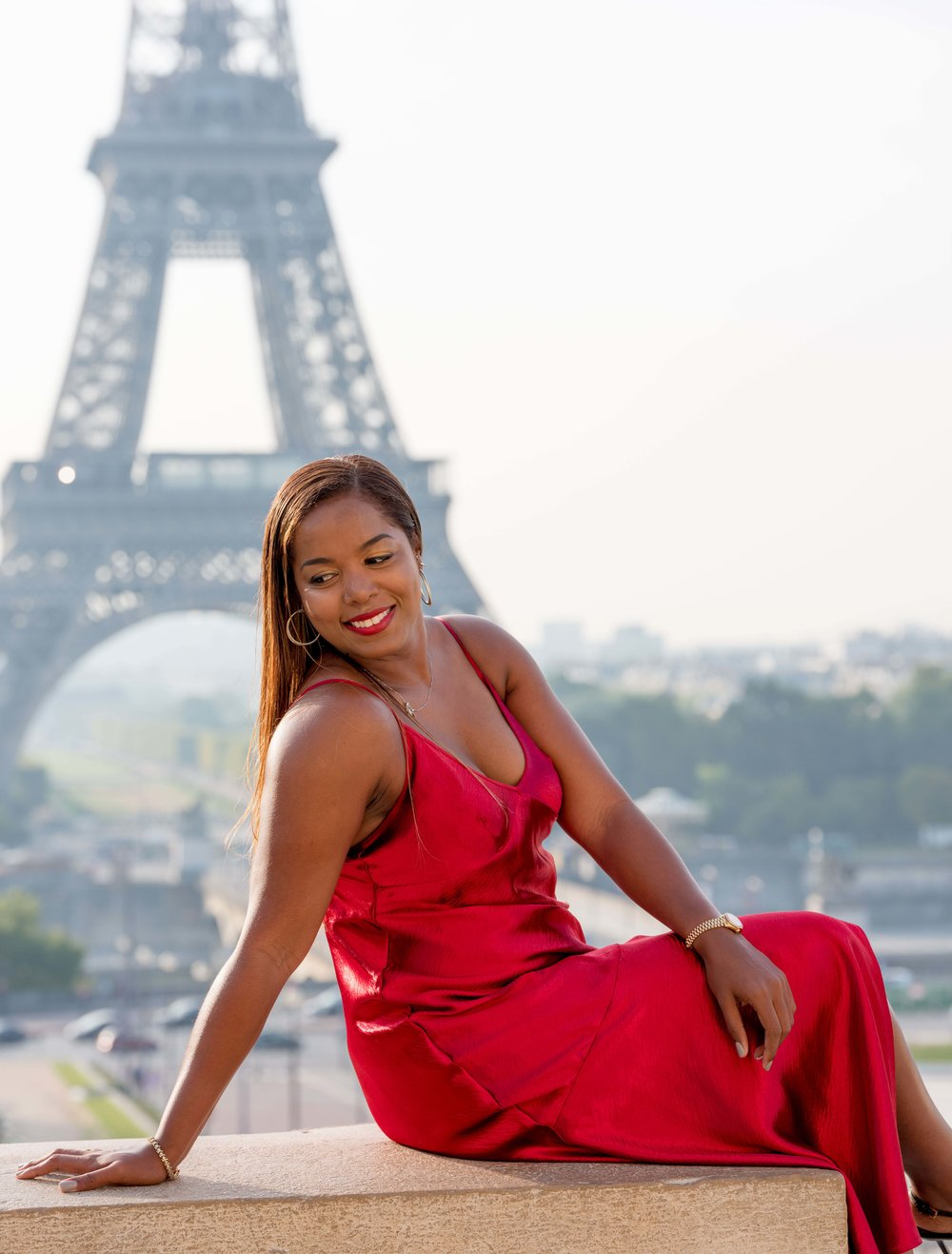 beautiful lady in red eiffel tower paris