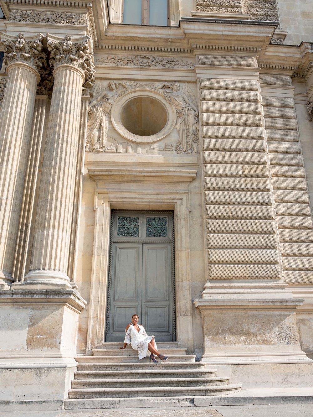 woman in white louvre paris