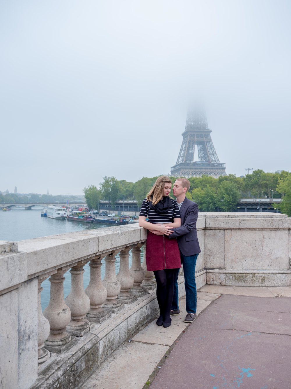 romantic couple in foggy paris