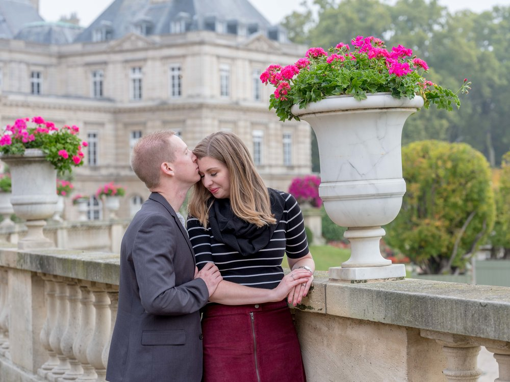 beautiful couple in paris garden