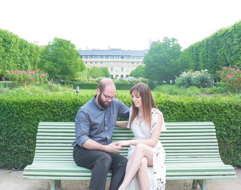 engaged couple in paris
