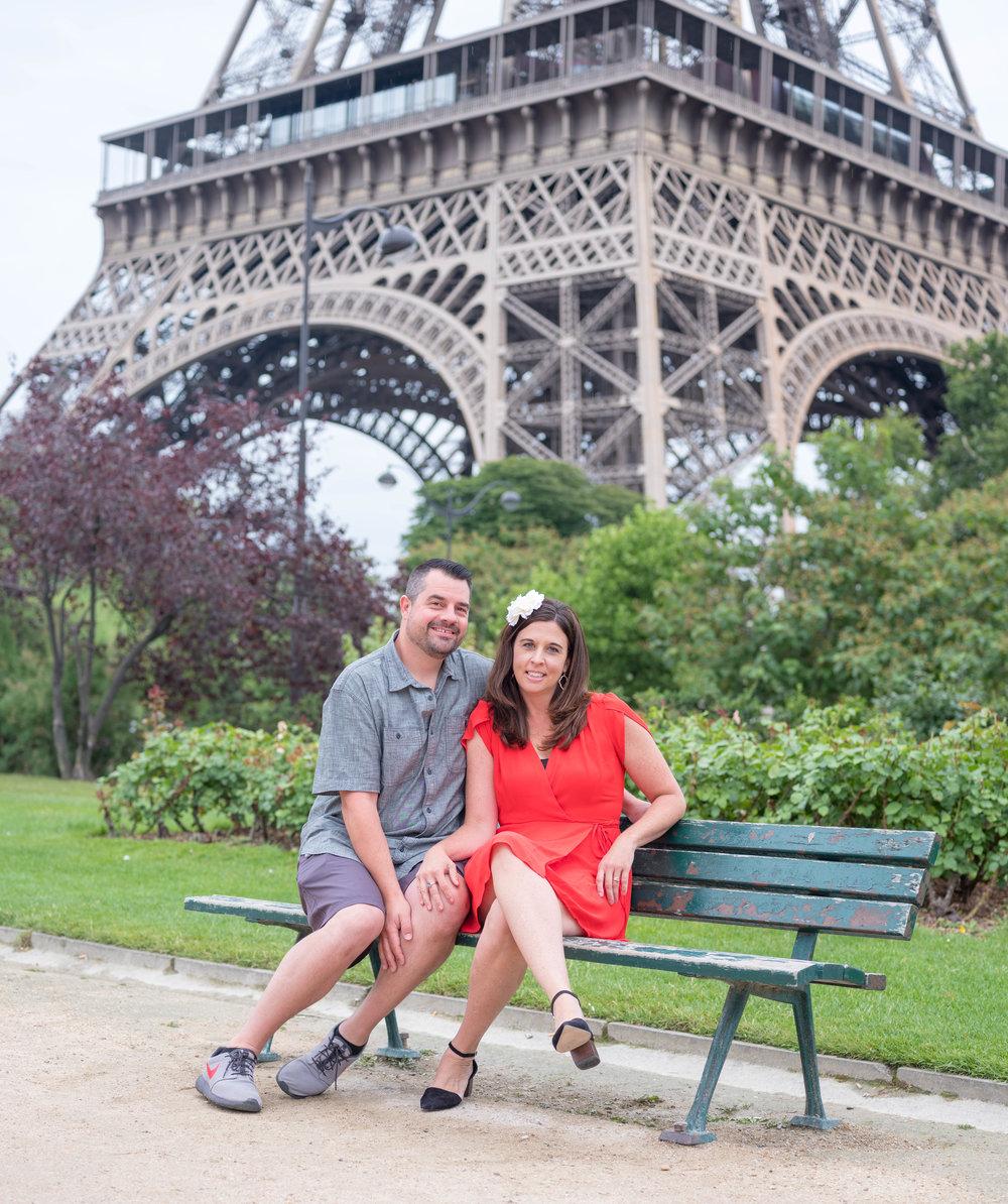 romantic couple at eiffel tower