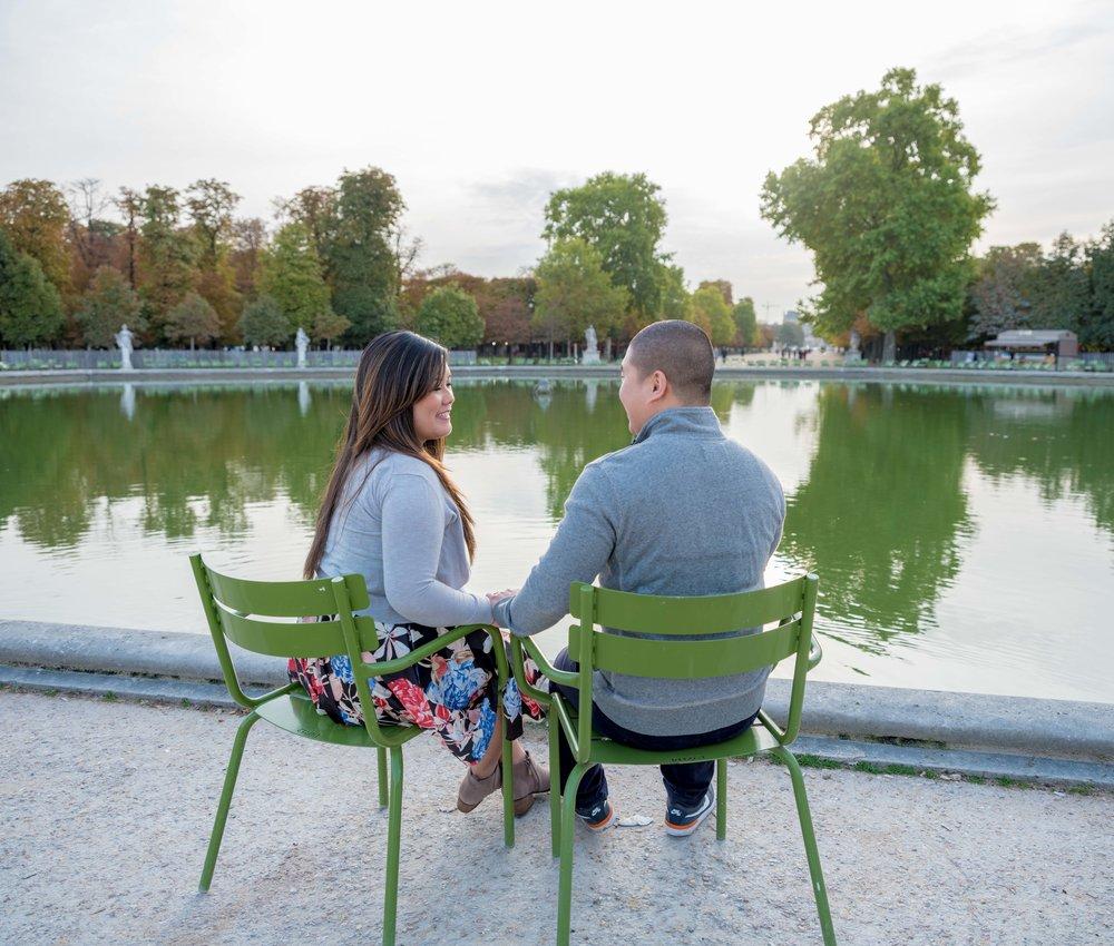 beautiful asian couple in paris park