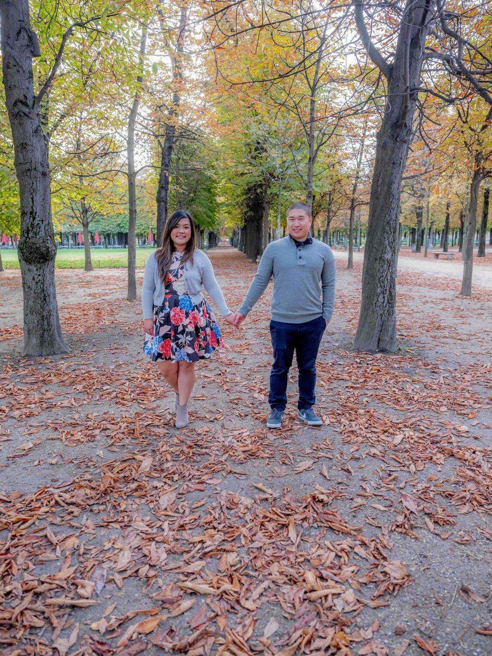 engaged couple in paris in autumn