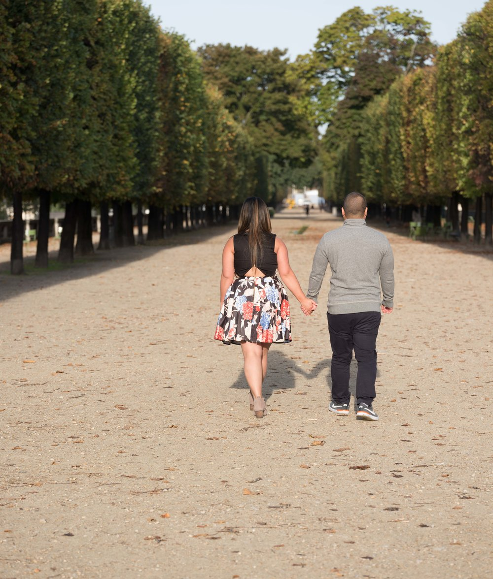couple holding hands walking in paris
