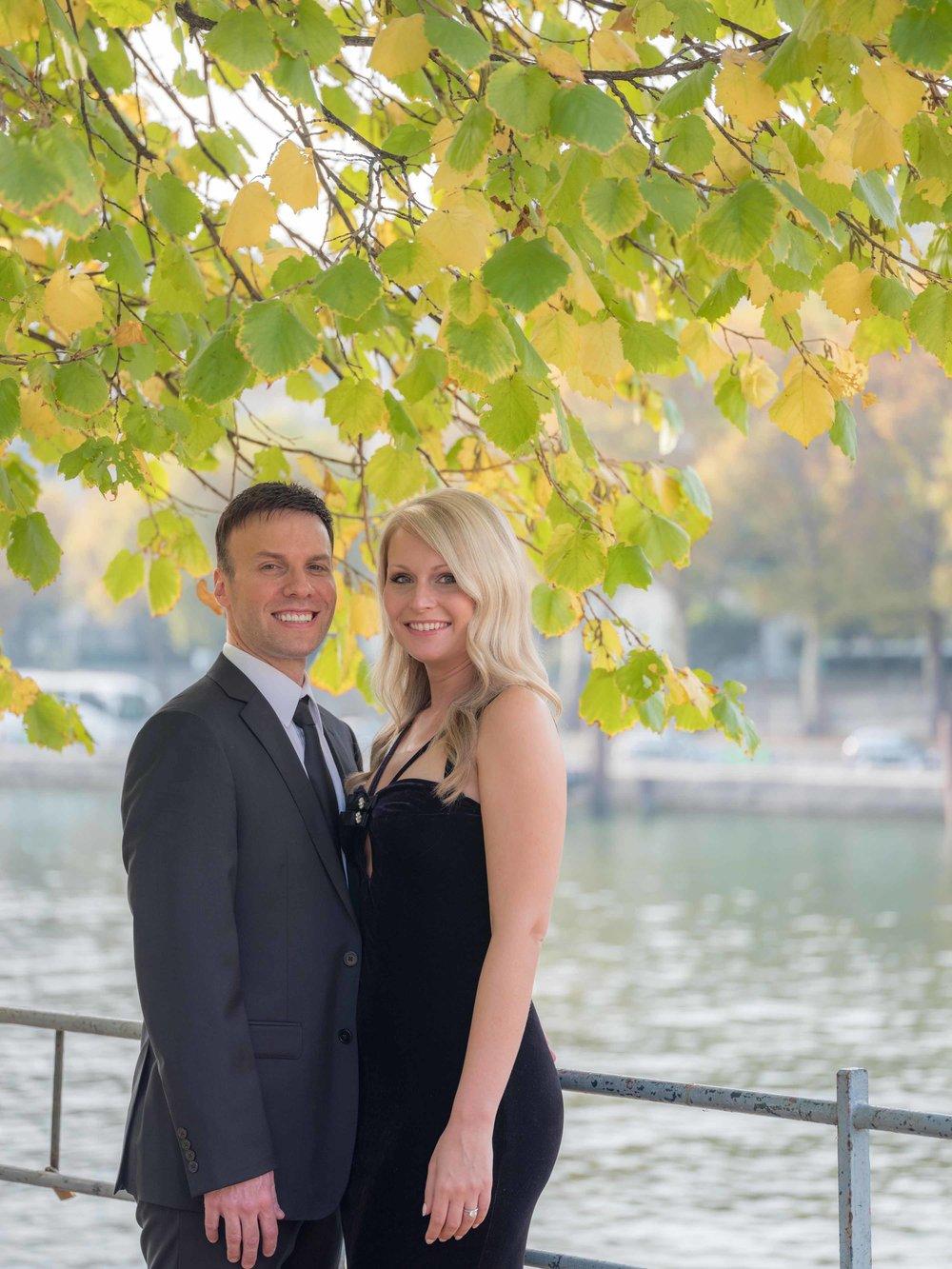 elegant couple in autumn in paris