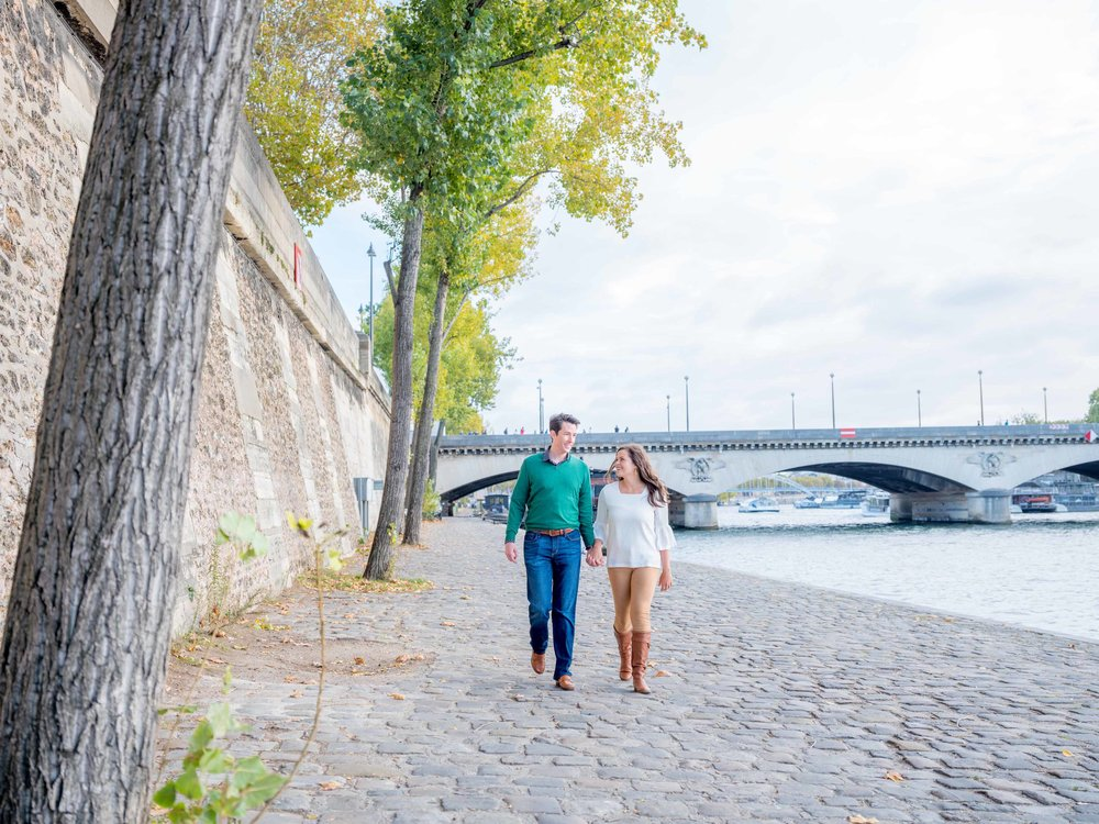 couple in love walking in paris