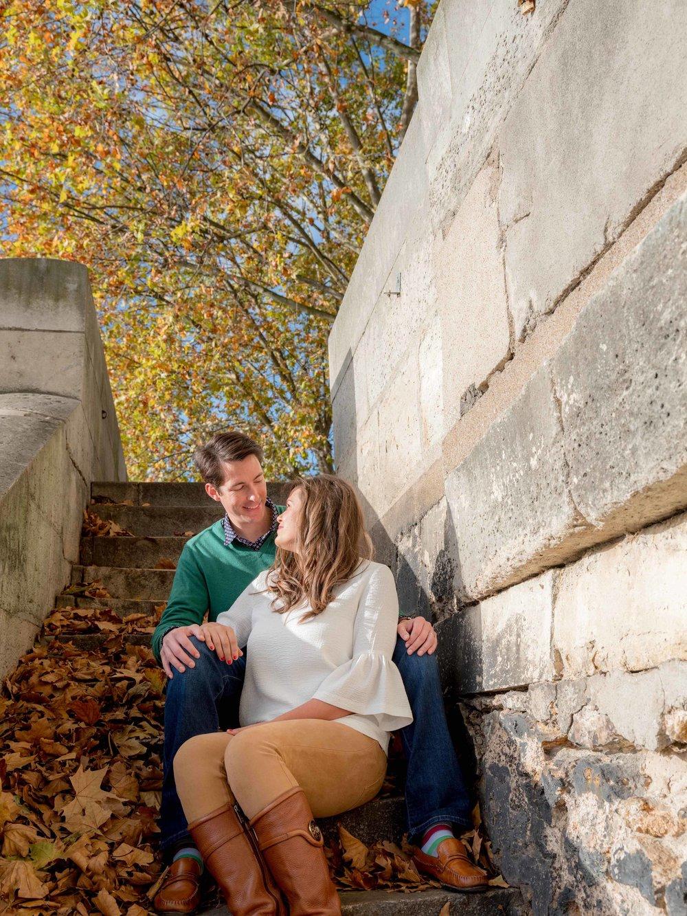 couple celebrating anniversary in autumn in paris