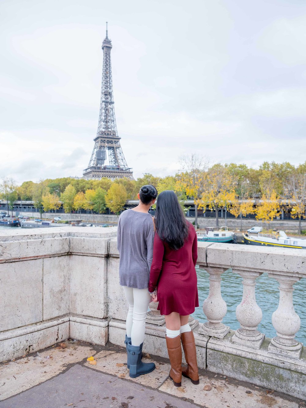 same sex couple engaged in paris france
