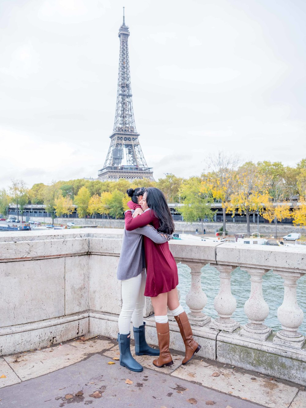 newly engaged same sex couple in paris france