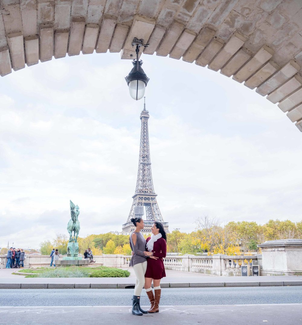 surprise proposal same sex couple in paris france