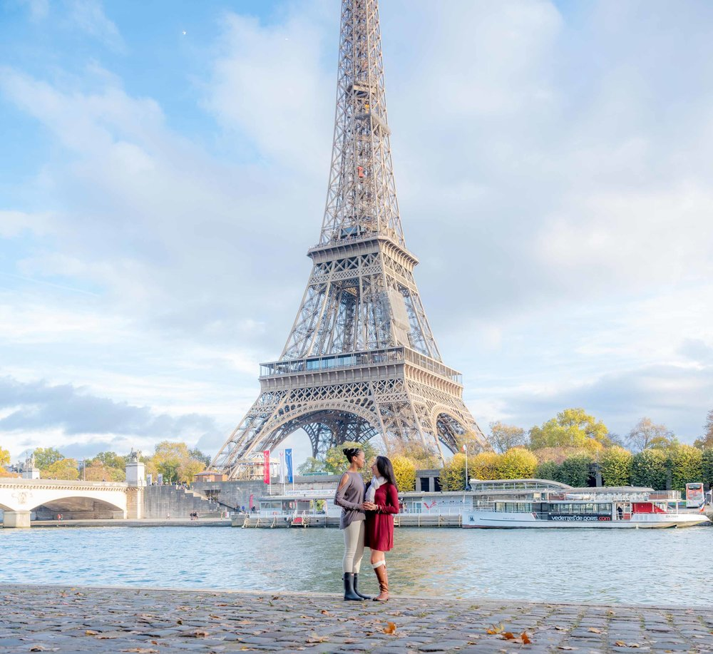 surprise proposal engagement same sex couple at eiffel tower