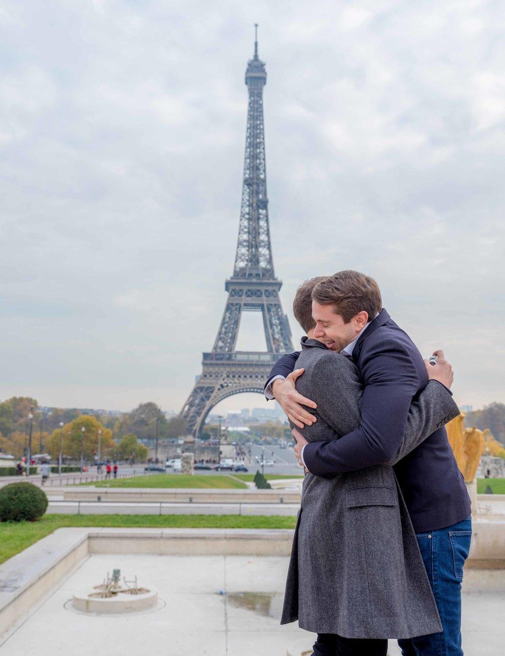 gay couple surprise proposal eiffel tower paris