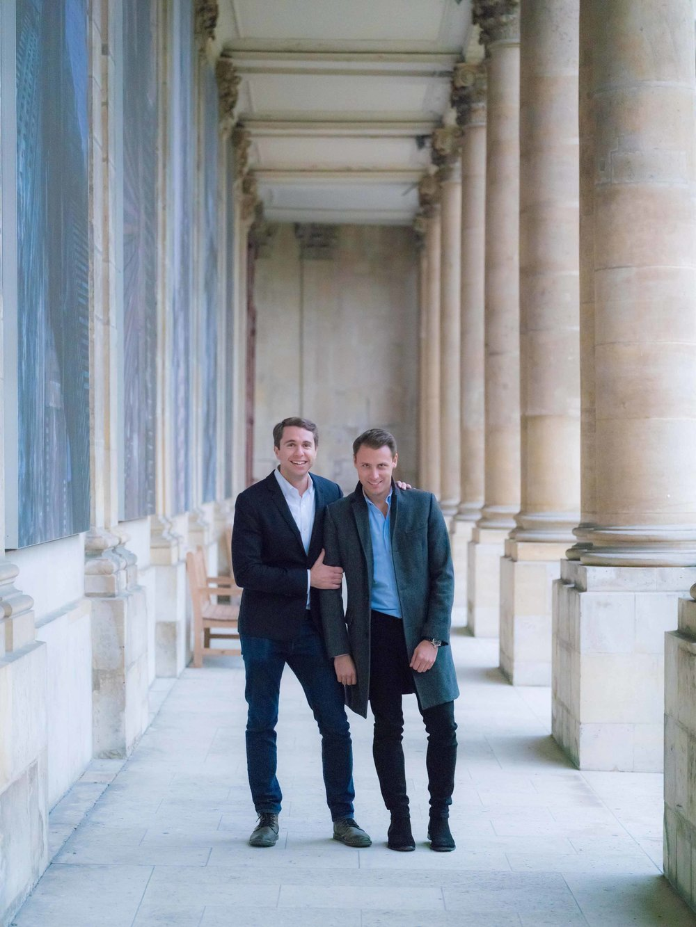 gay couple engaged in paris france