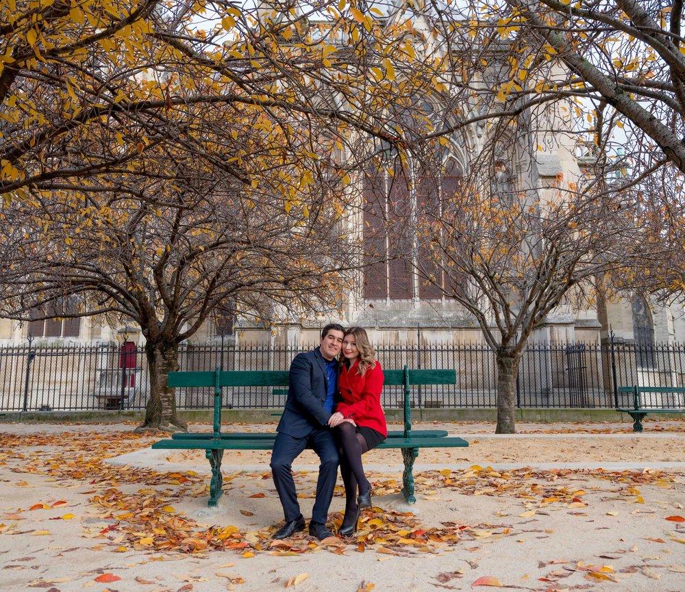 romantic engagement photo shoot at the notre dame in paris