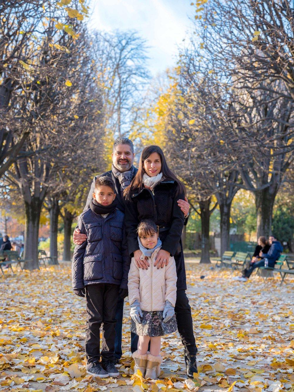 family in pqris in autumn