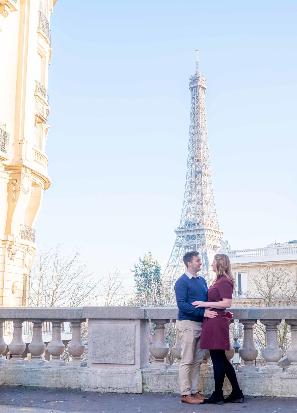 newly engaged couple in paris at eiffel tower