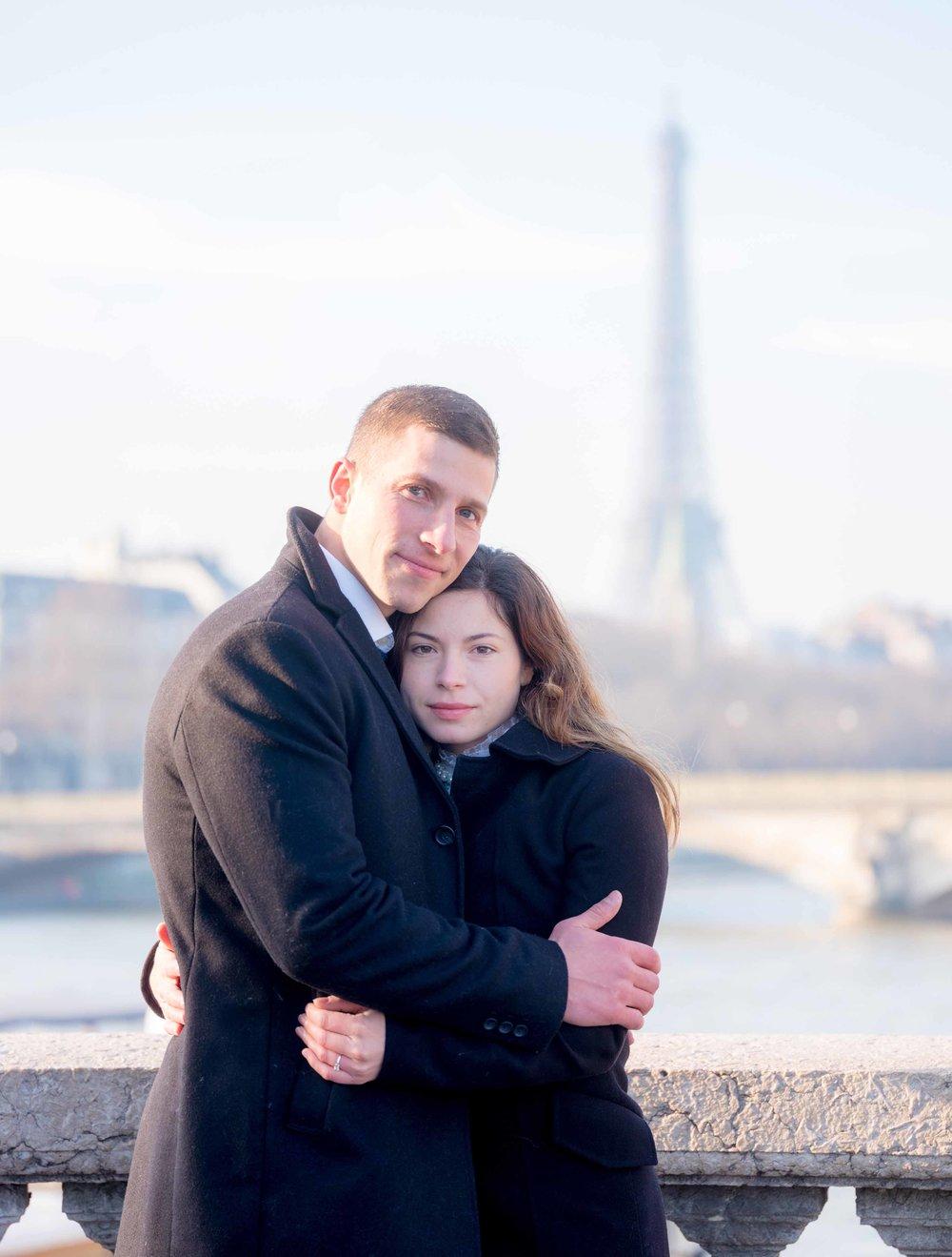surprise proposal pont alexandre paris france