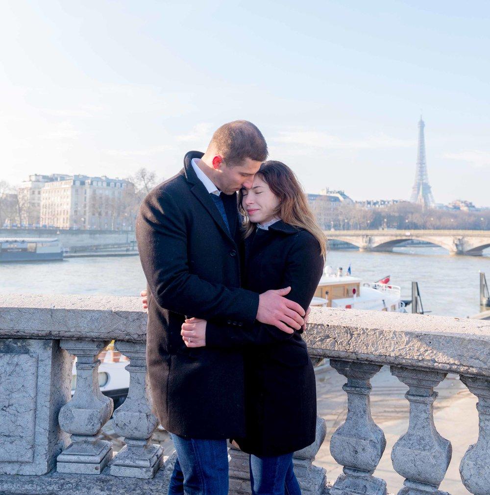 surprise proposal eiffel tower  paris france