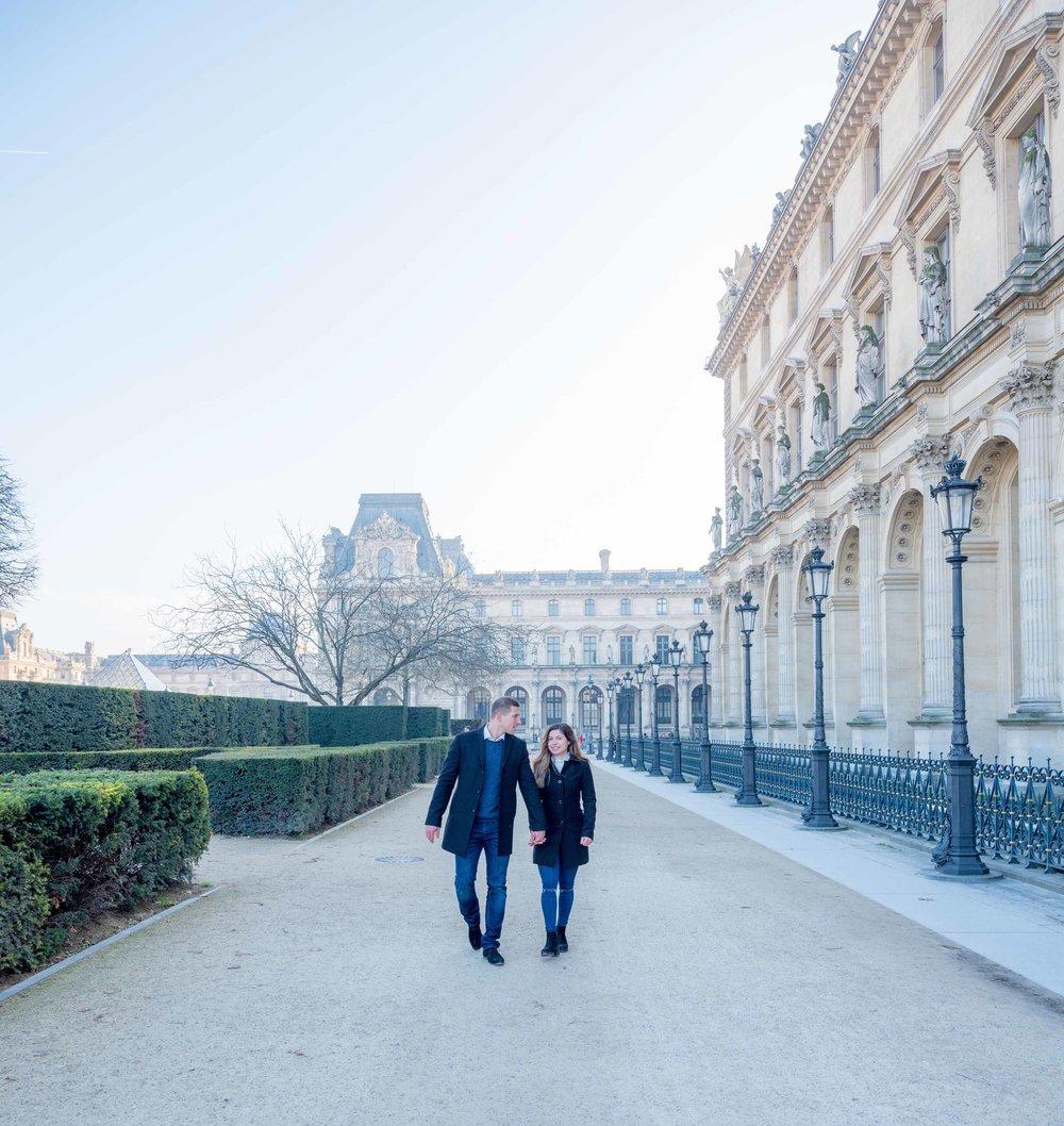 surprise proposal louvre museum paris france
