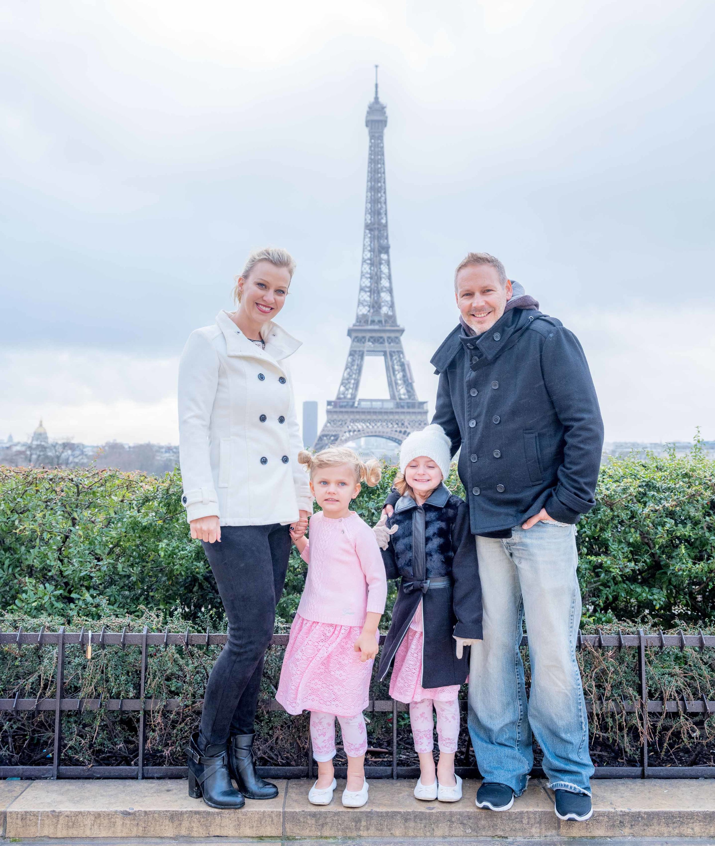 Family day in the Paris rain