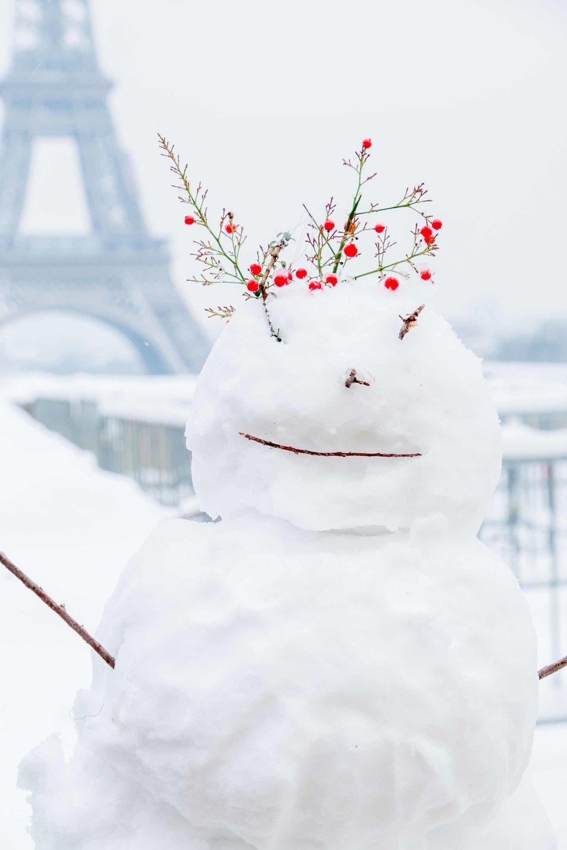 snowy winter day in paris