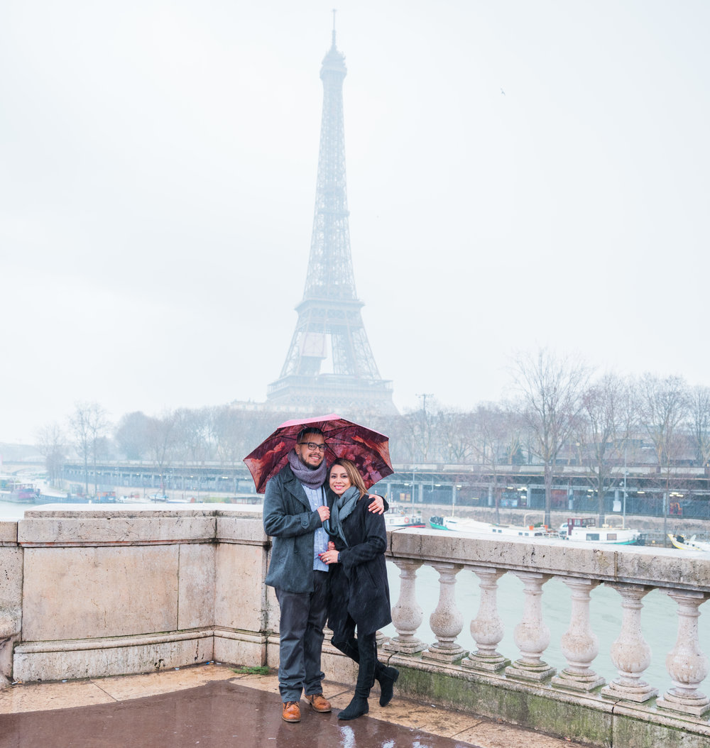 surprise proposal eiffel tower paris france