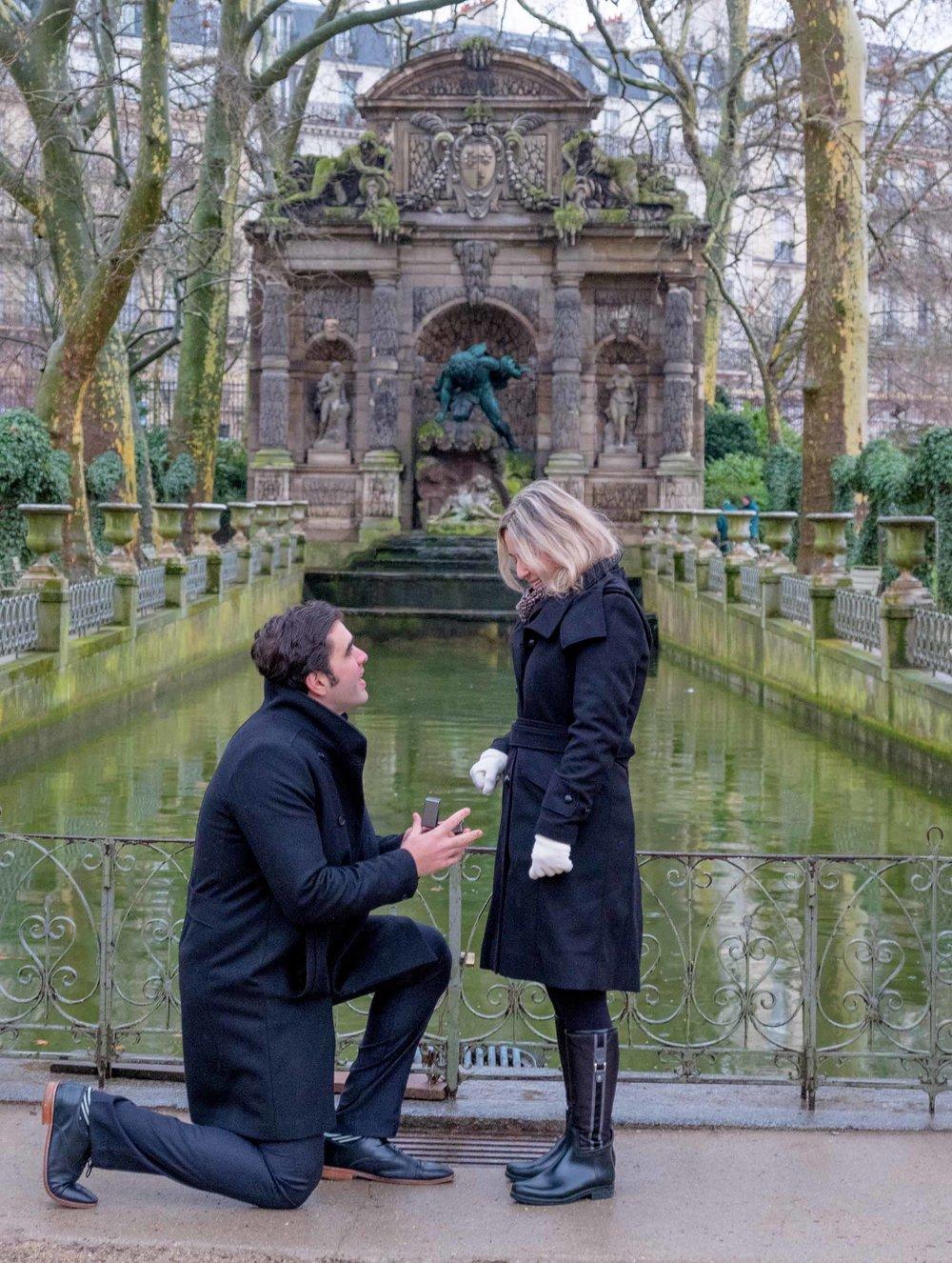 surprise proposal luxembourg gardens paris france