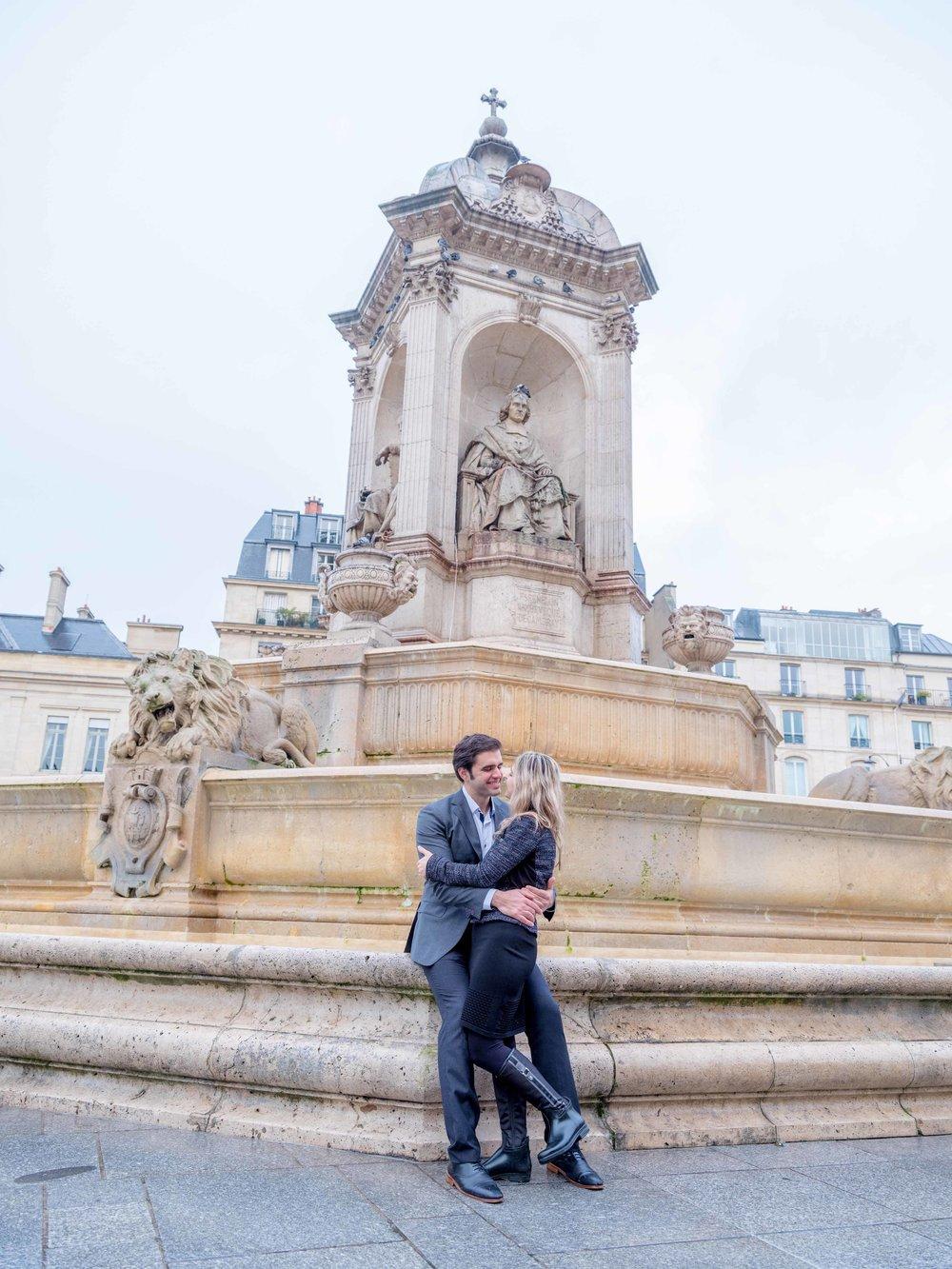 paris surprise proposal st sulpice fountain