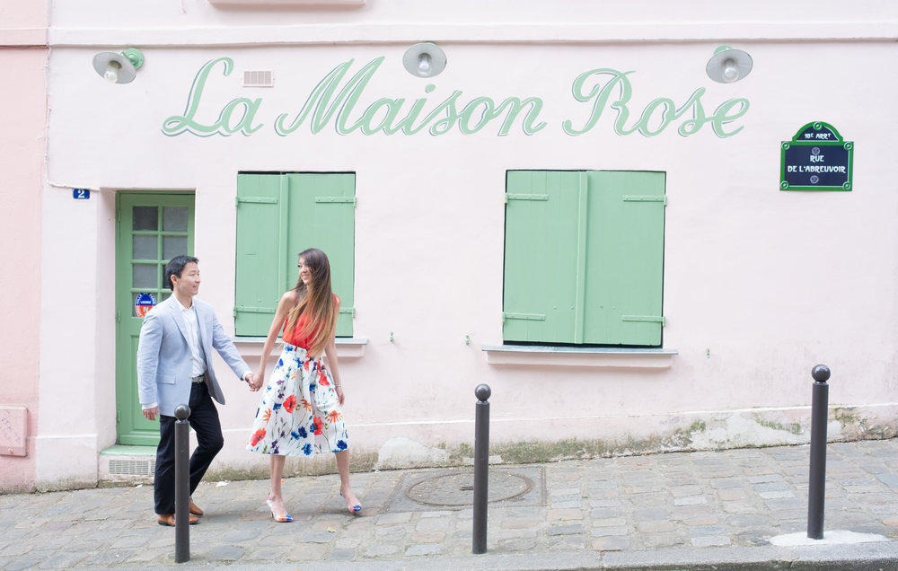 Montmartre on the hill, is one of the few places in Paris you can find a little color, here in pink