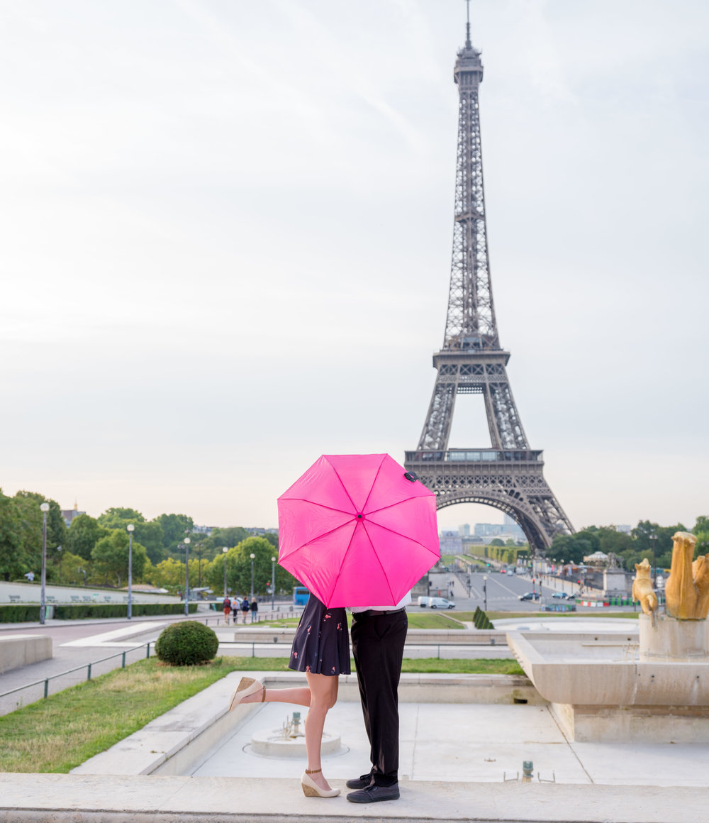 This pink umbrella added a super pop of color at the Eiffel Tower