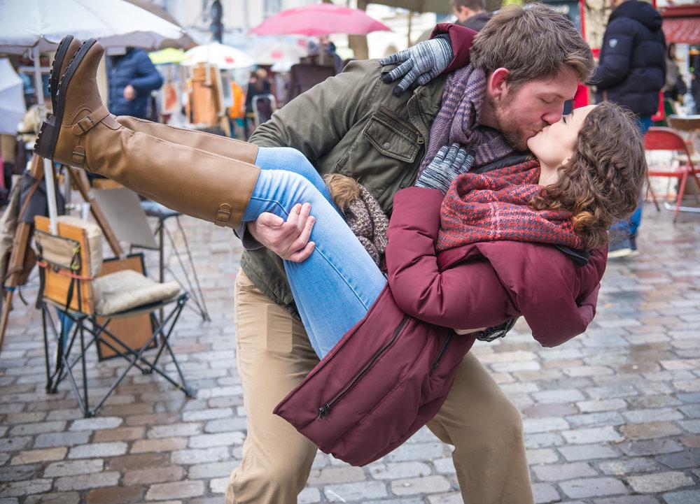 surprise proposal and engagement photo shoot at montmartre in paris france