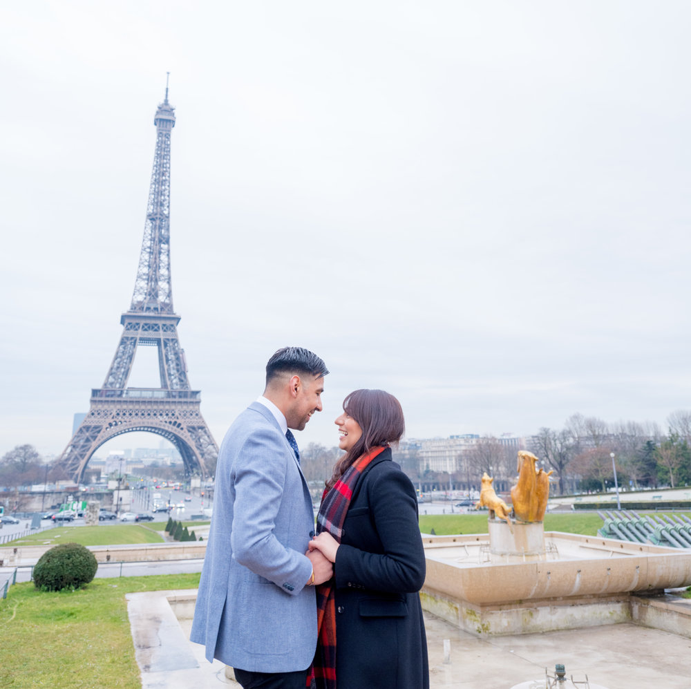 beautiful surprise proposal at eiffel tower in paris france