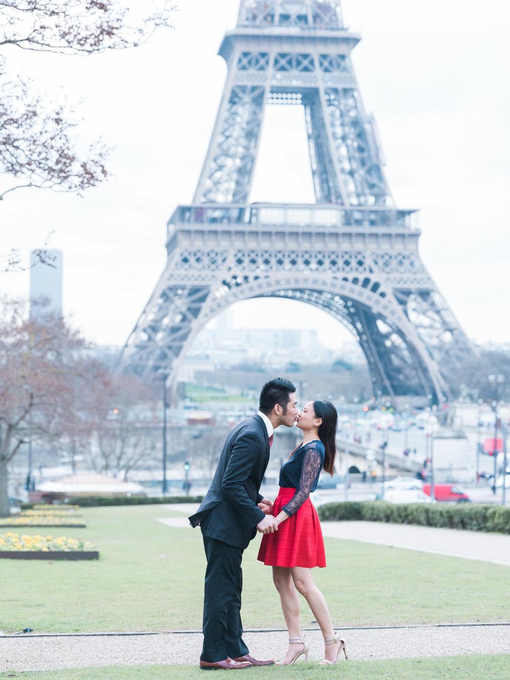 romantic eiffel tower couples engagement photo session in paris france