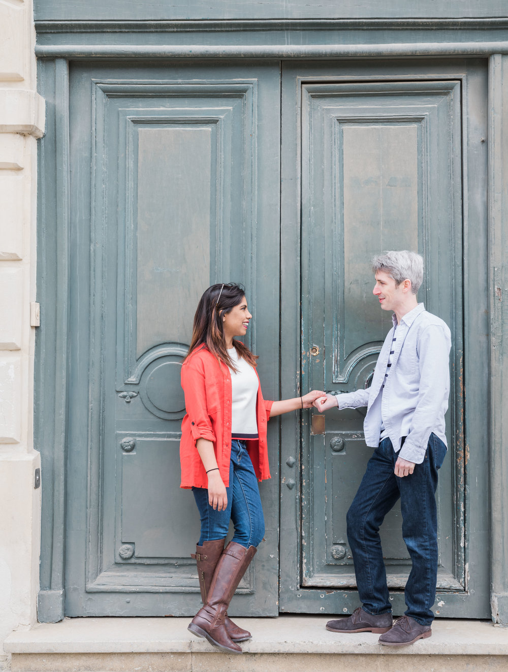 romantic couples engagement photo session in paris france