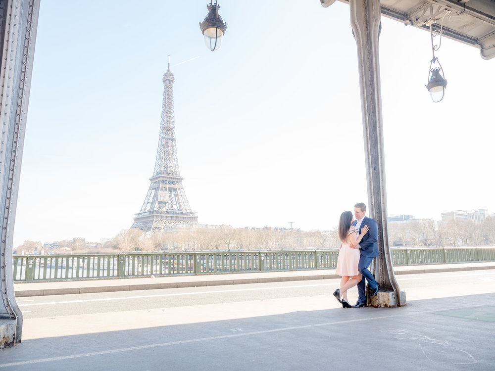 engagement photo shoot at eiffel tower in paris france