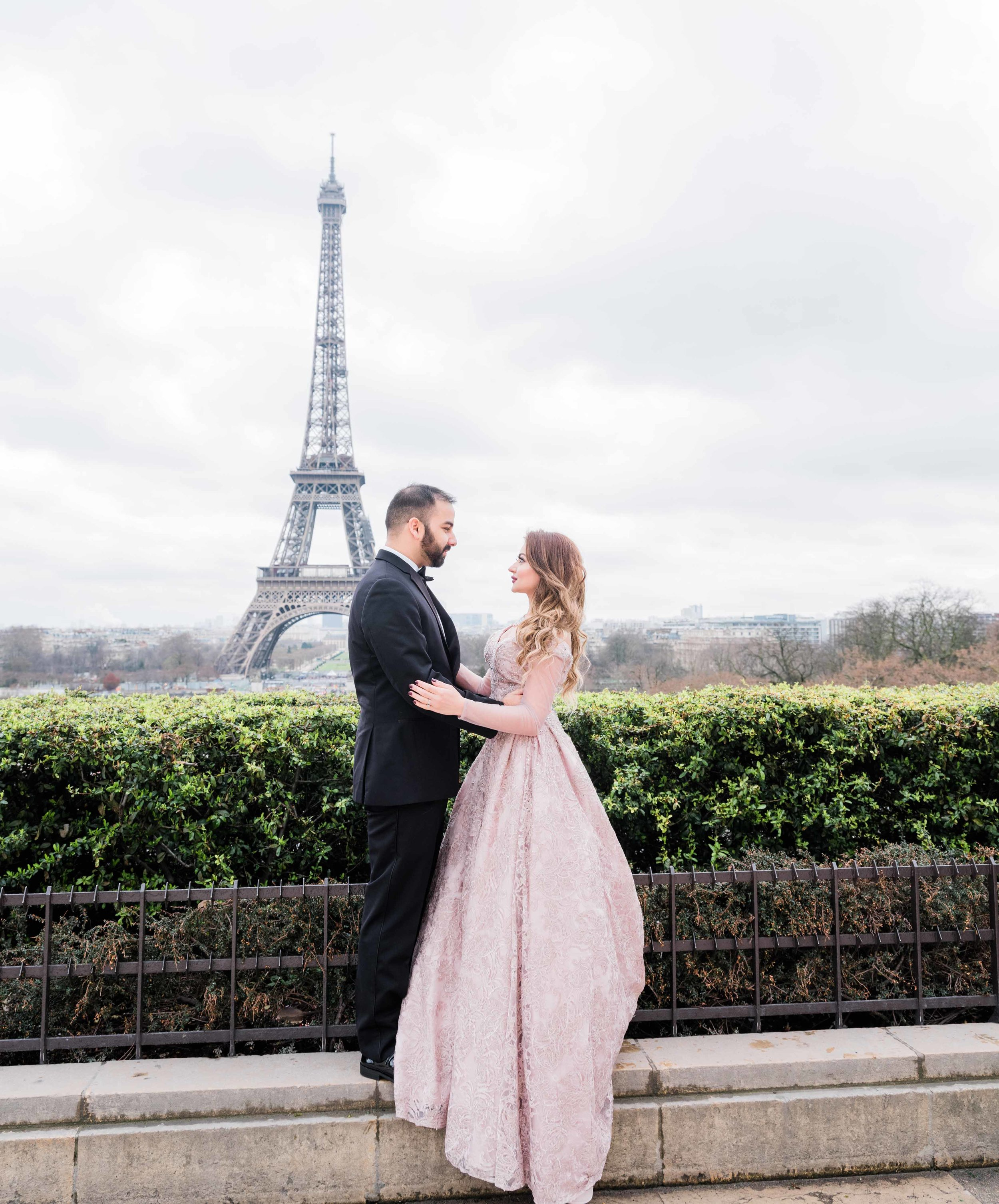 A prince and princess fairy tale dream photo shoot at the Eiffel Tower