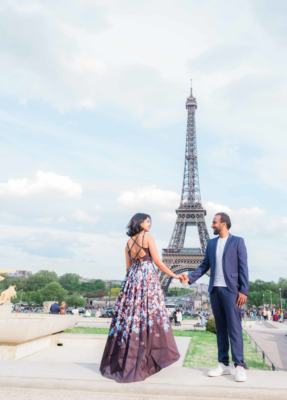 elegant and classy couple in love at the eiffel tower trocadero in paris france
