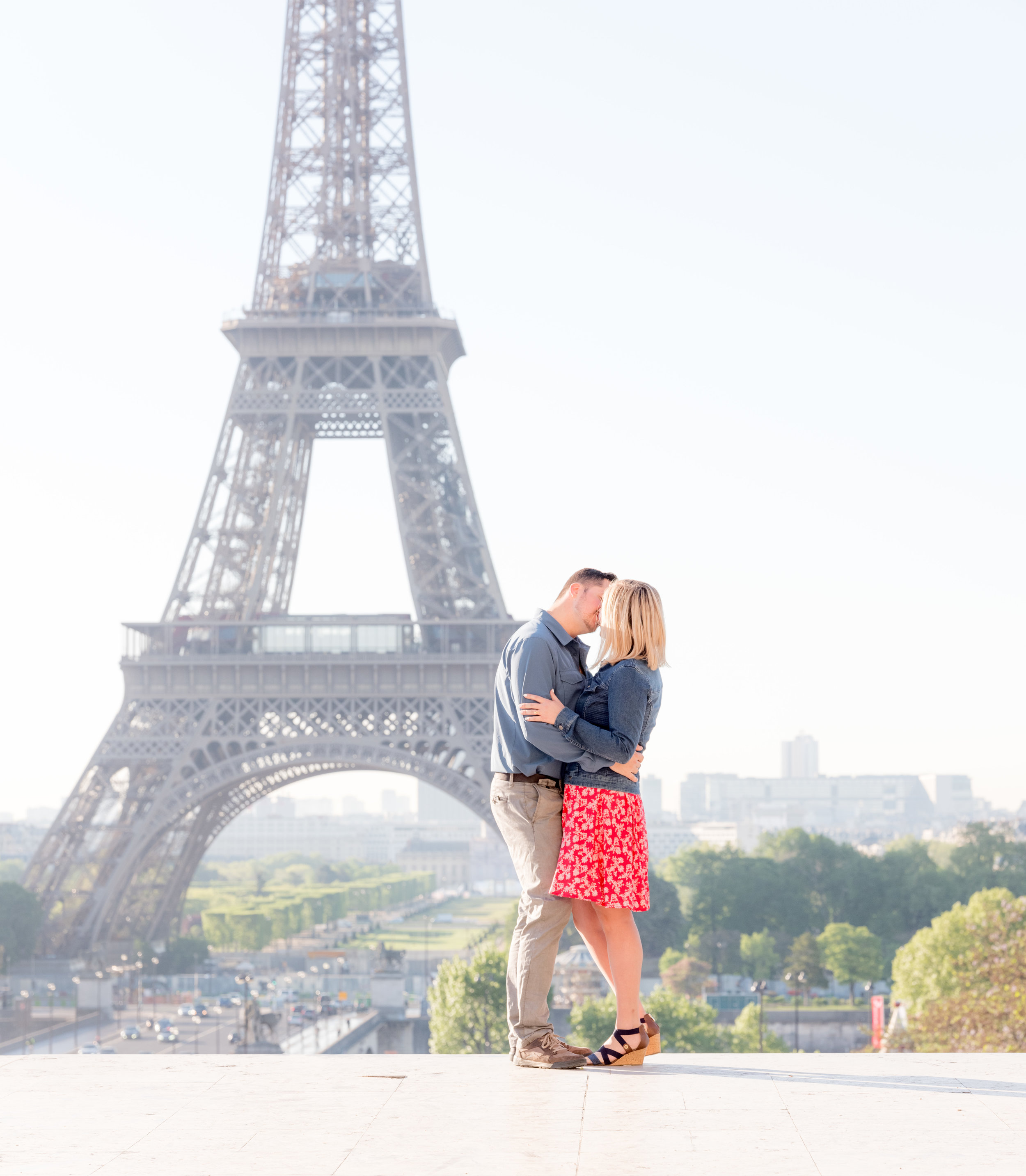 An anniversary celebration photo shoot in Paris at the Eiffel Tower
