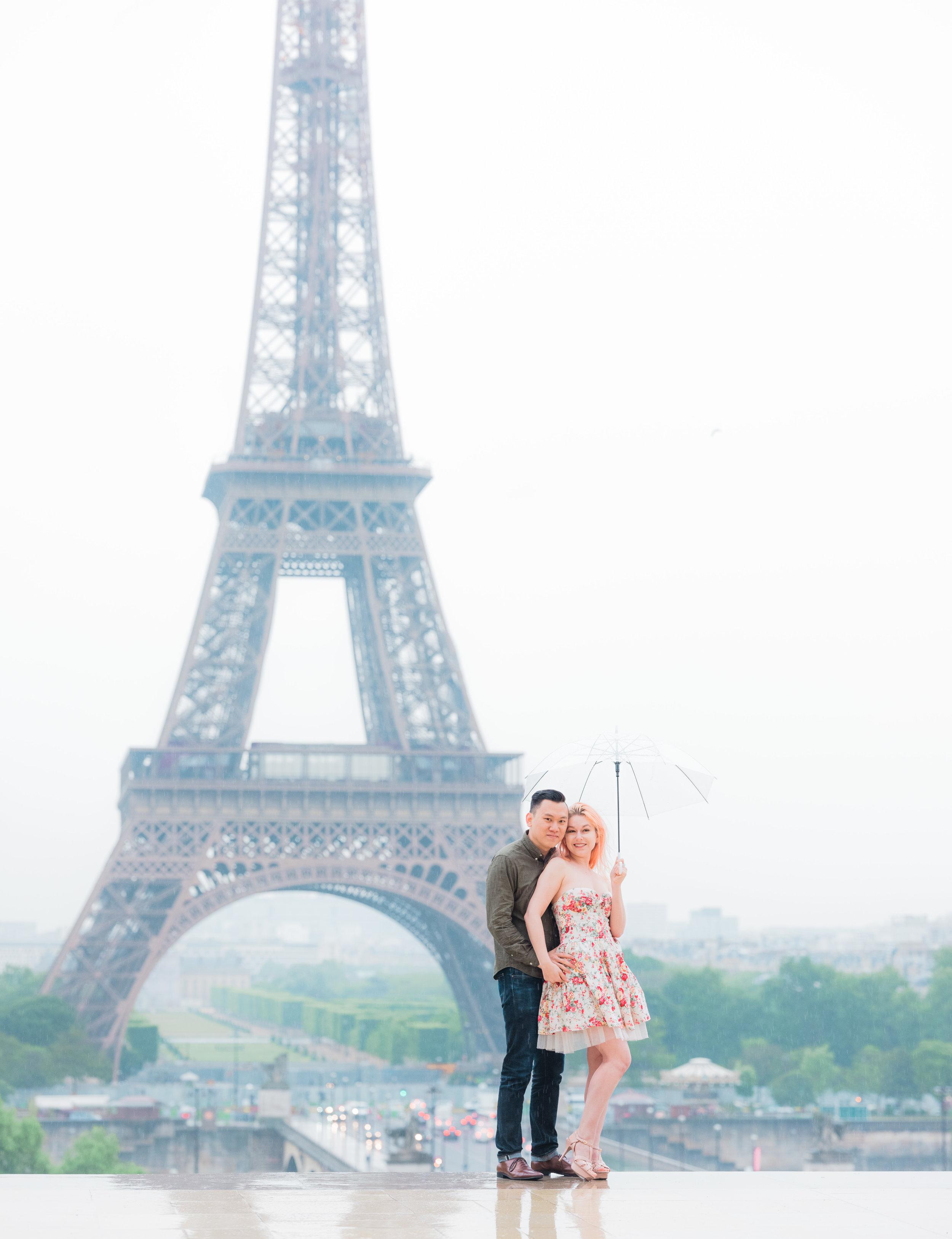 A fun, flirty and rainy day Trocadero Eiffel Tower photo session