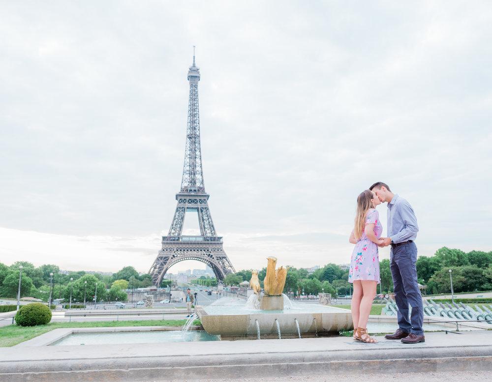 a romantic dreamy early morning honeymoon photo shoot at the eiffel tower trocadero