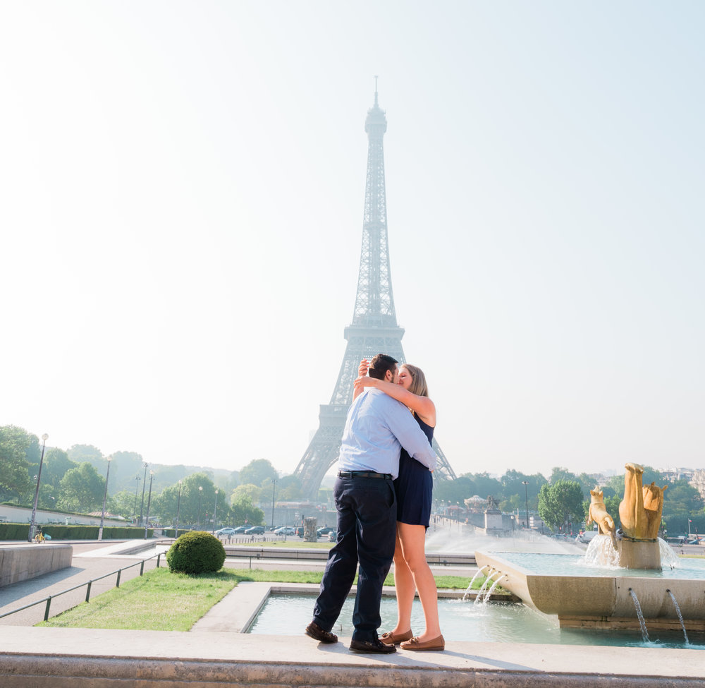 romantic surprise proposal at the eiffel tower trocadero in paris france
