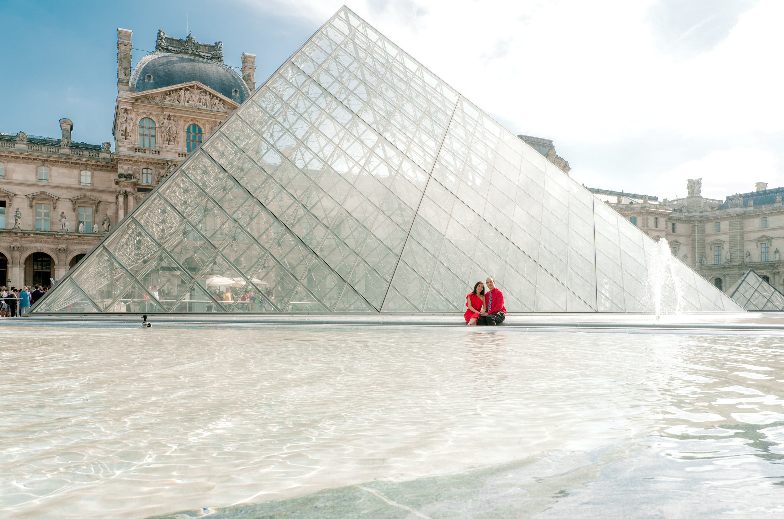 A wedding anniversary celebration at the Louvre Museum in Paris